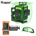 Huepar 12 Lijnen 3D Kruislijnlaser Groene Laser Beam Zelfnivellerende 360 Verticale en Horizontale met Bril & Laser Ontvanger