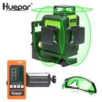 Huepar 12 Lines 3D Cross Line Laser Level Green Laser Beam Self Leveling 360 Vertical & Horizontal with Glasses & Laser Receiver
