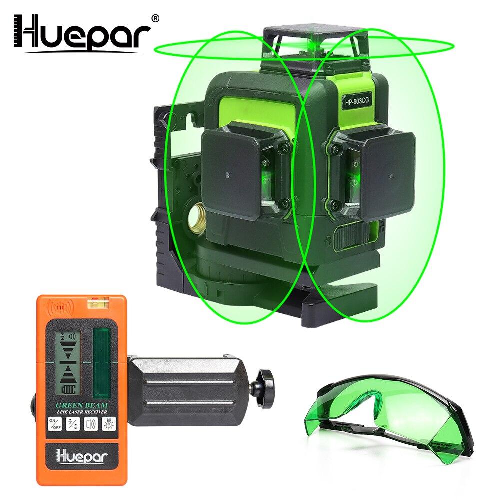 Huepar 12 linhas 3d cruz linha laser nível verde feixe de laser auto-nivelamento 360 vertical & horizontal com óculos & receptor laser