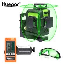 Huepar 12 خطوط ثلاثية الأبعاد عبر مستوى خط الليزر الأخضر شعاع الليزر التسوية الذاتية 360 الرأسي والأفقي مع النظارات وجهاز استقبال الليزر