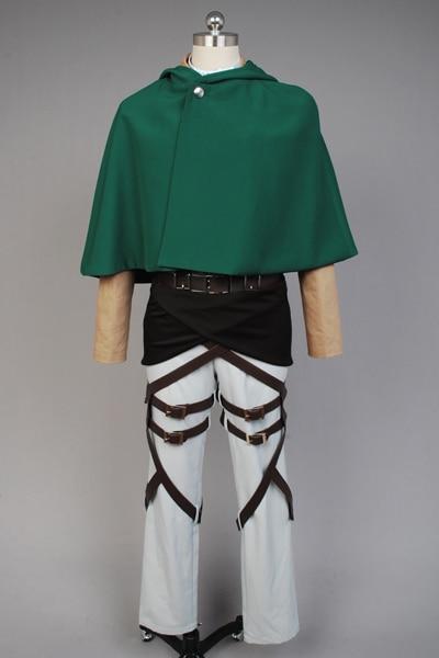 Attack on Titan Eren Jaeger Print Cloak Jacket Pants Belt Anime Halloween Cosplay  Costume For Men Women Free Shipping