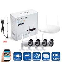 Cdycam التوصيل والتشغيل 4ch hd nvr p2p اللاسلكية 720 وعاء داخلي كاميرا ip wifi cctv ir للرؤية الليلية الأمن في الهواء نظام