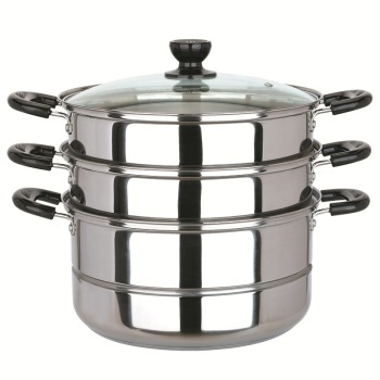 Three Layer Stainless Steel Double Bottom Boiler Steamer 26cm Kitchen Appliances Accessories(cooking Cooker Dual Available )