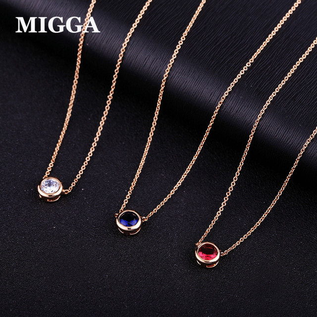 Migga elegant single cz stone zircon crystal pendant necklace rose migga elegant single cz stone zircon crystal pendant necklace rose gold color choker chain women jewelry aloadofball Choice Image