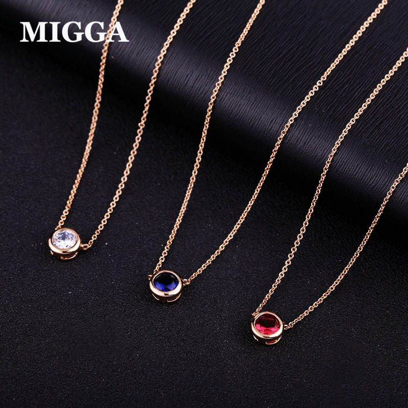 MIGGA Elegant Single CZ Stone Zircon Crystal Pendant Necklac
