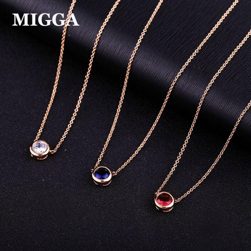 MIGGA Elegant Single CZ Stone Zircon Crystal Pendant Necklace Rose Gold Color Choker Chain Women Jewelry