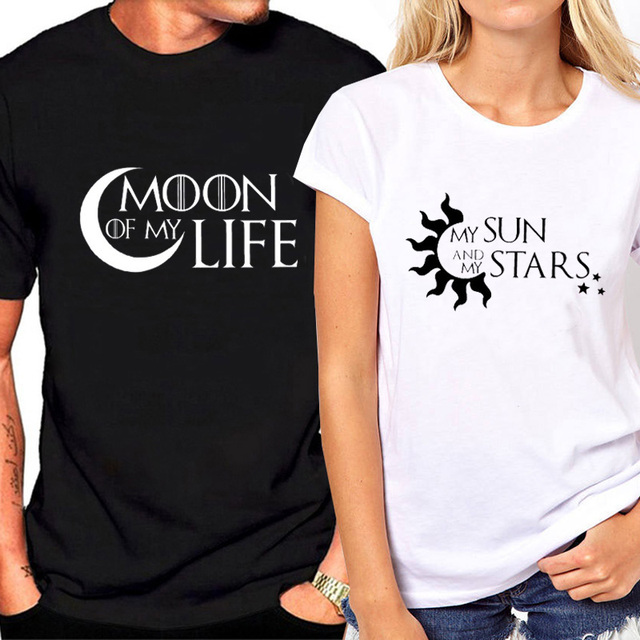 ee1d5addf5 2019 New Fashion Couple T-shirt for Lovers Print Sun Moon Funny T Shirt  Femlae