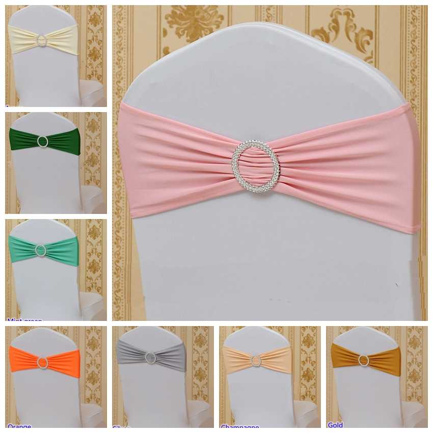 20 Colours Spandex Chair sash with Round buckles for chair cover chair band lycra sash bow tie wedding party dinner