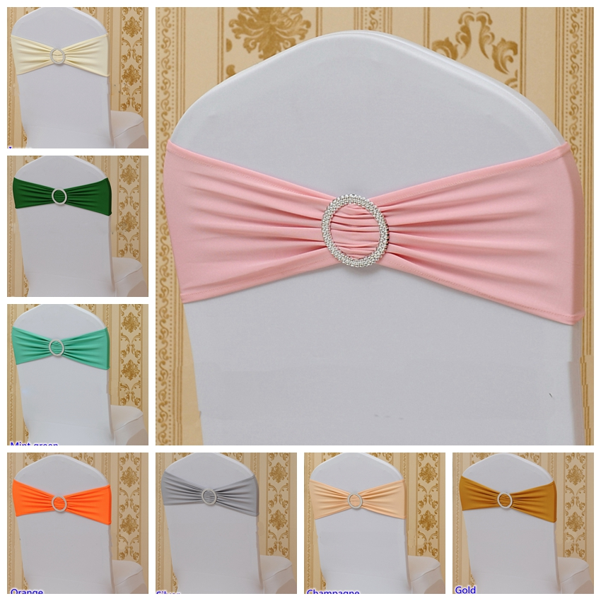 30 Colours Spandex Chair Sash With Round Buckles For Chair Cover Chair Band Lycra Sash Bow Tie Wedding Party Dinner