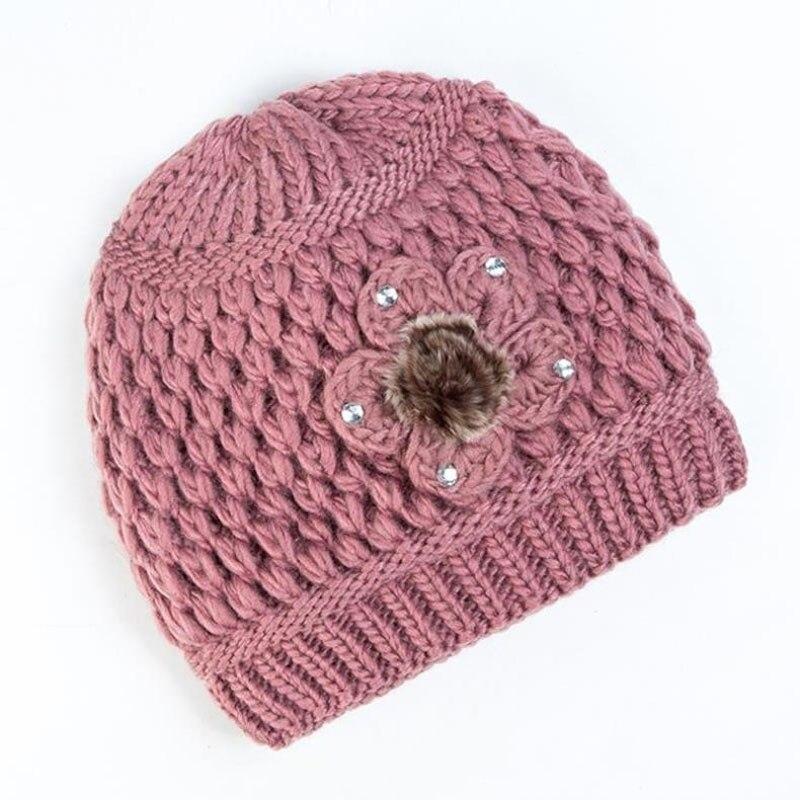 Ymsaid Classique De Fourrure Fleurs Épais cachemire Beanie cap Automne-Hiver Tricoté Chapeaux de Femmes Femelle Chapeau Beanie