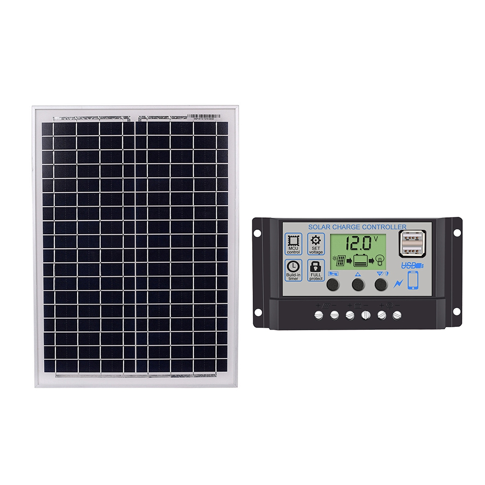Black 18V20W Solar Panels + 12V/24V Solar Controller With USB InterfaceBlack 18V20W Solar Panels + 12V/24V Solar Controller With USB Interface