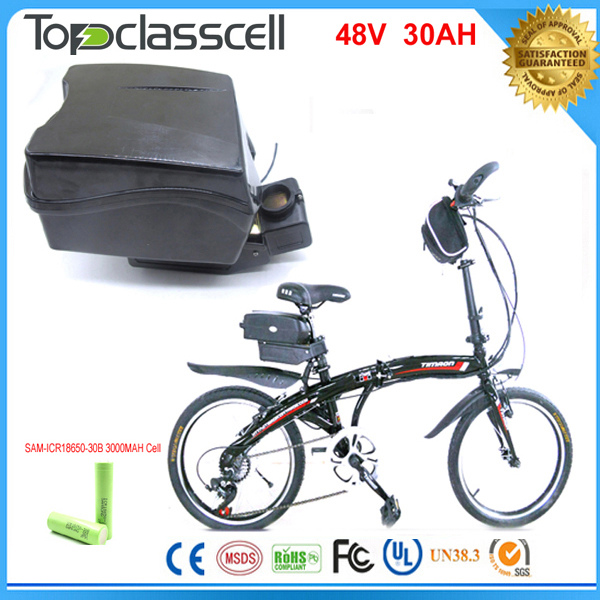 electric bike battery  48V 30Ah with 48v 30a electric bicycle Llithium ion battery 48v  1000w  lithium battery  For Samsung cell 48v 34ah triangle lithium battery 48v ebike battery 48v 1000w li ion battery pack for electric bicycle for lg 18650 cell