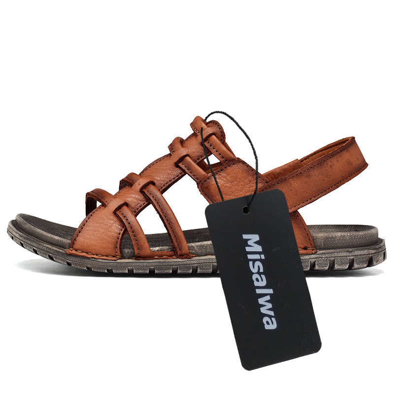 575698d2590e ... Misalwa Man Sandals 2019 Summer Natural Leather New Beach Men Casual  Shoes Skid Resistant Male Two ...