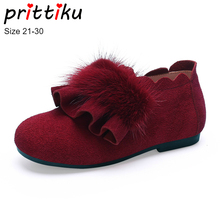 2020 Girls Princess Casual Flats Baby/Toddler/Little Kid Cow Suede Mink Plush High Loafers Children Fashion Dress Shoes