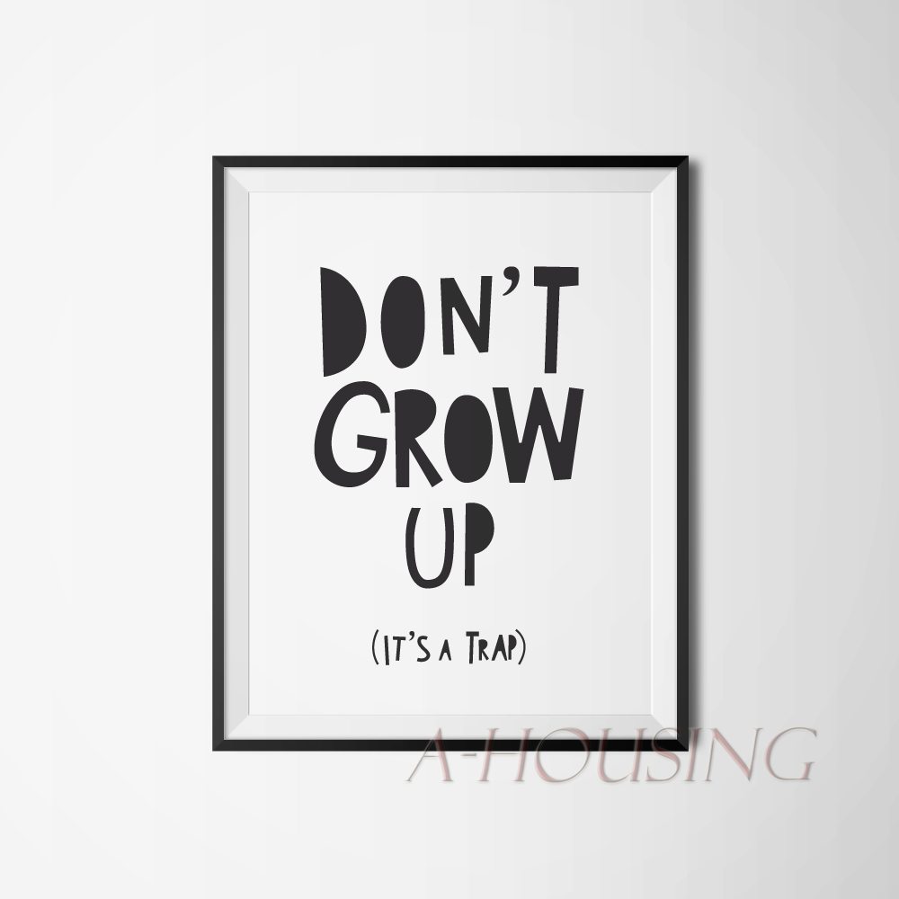 Cartoon don 39 t grow up quote canvas art print painting for Good quotes to paint on my wall