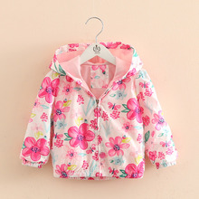 BibiCola Baby Girls Clothes Spring Baby Jacket Coats Girl Clothing Flowers animal Pattern Hooded Windbreaker Children Outerwear cheap Outerwear Coats Jackets Fashion Acetate COTTON Full 90879 Fits true to size take your normal size Floral Worsted REGULAR