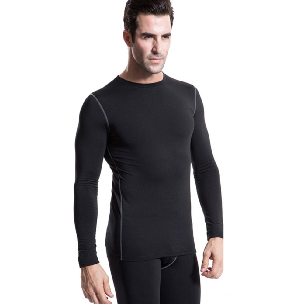 Men plush base layer long sleeve thermal underwear winter Thermal t shirt long sleeve