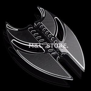 Image 3 - שחור CNC טומהוק קדמי נהג Stretche רצפה רגל נשענת להארלי סיור Softail FL Dyna FLD 1986 2015 מודלים
