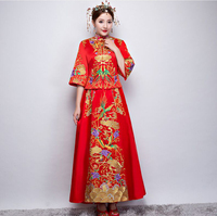 Red Wedding Bride Chinese Style Cheongsam Traditional Lady Long Qipao Embroidery Women's Evening Dress Clothes Size S M L XL