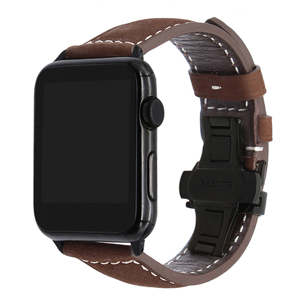 Imported Vintage Leather Watchband for iWatch Apple Watch 38mm 40mm 42mm 44mm Series 1 2 3 4 5 Band Steel Butterfly Clasp Strap | Watchbands