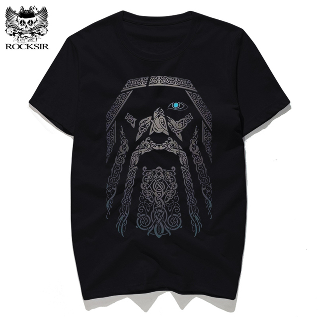 Rocksir Men Punk Tops Gorgeous Odin Vikings Printed T-shirts Cotton Short Sleeve Tee Shirts Hipster Homme Casual Brand Clothing 1