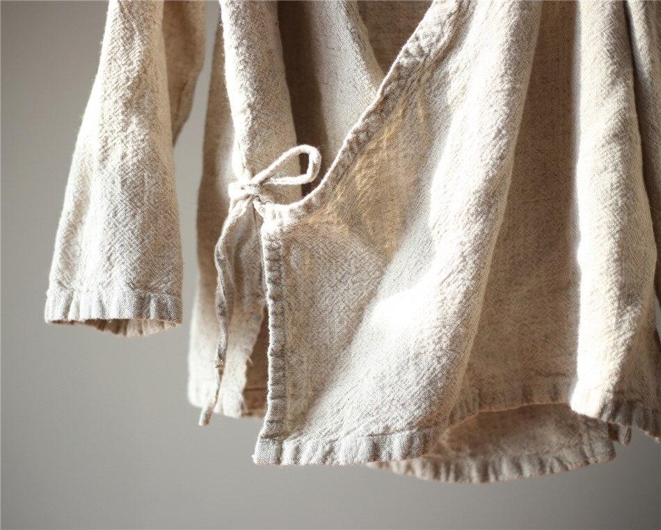 D071 Diseño De Lino Camisa Blusa Larga Mujeres Kimono Beige Origoods Chino Estilo Original Tops Vintage Manga Blusas qn4SZZ