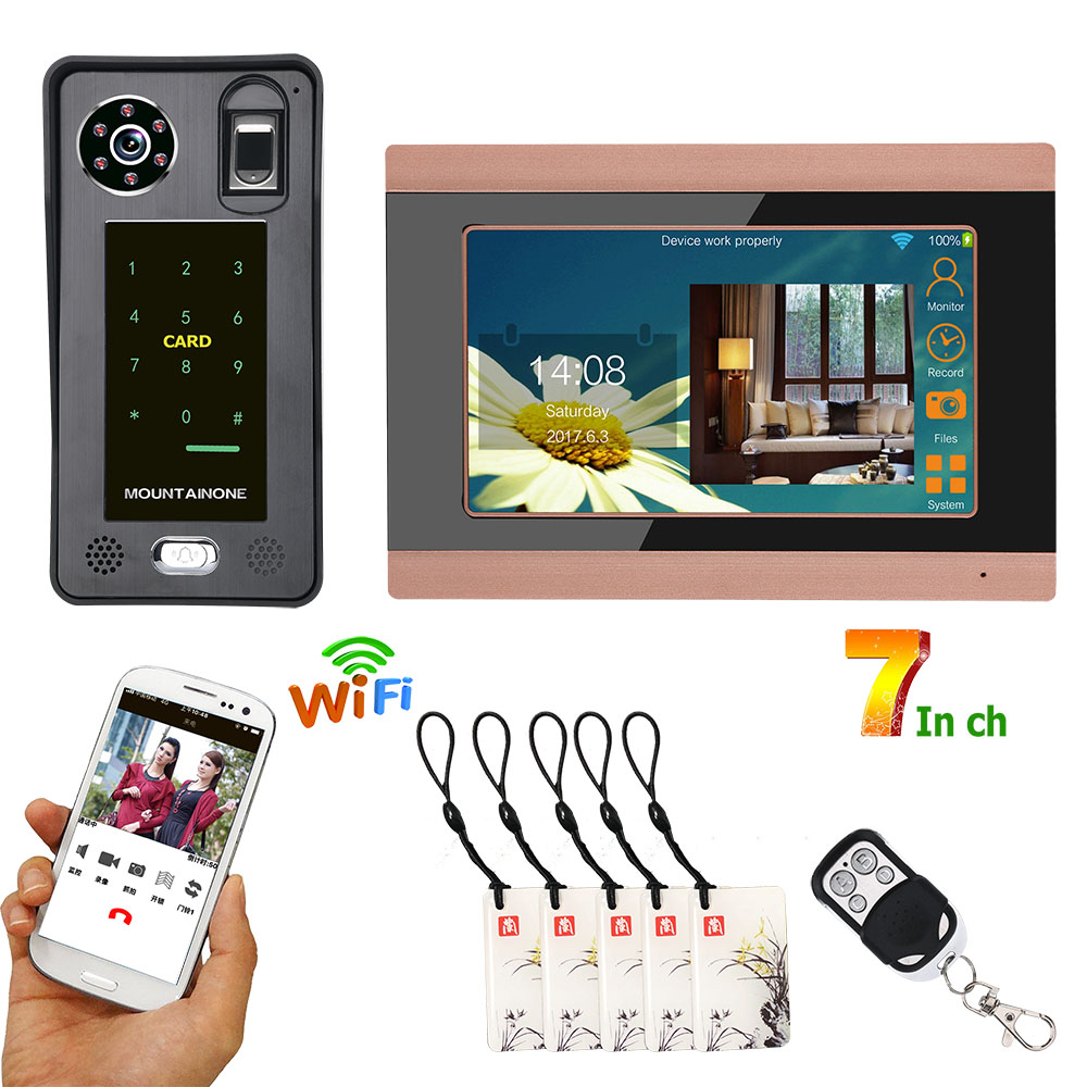 7inch Color Touch LCD Wired Wifi Fingerprint IC Card Video Door Phone Doorbell Intercom System With Door Access Control System