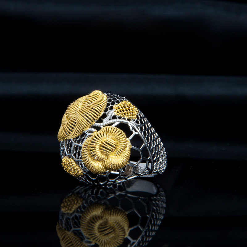 Jewelry Processing Custom Wholesale Fashion New Openwork Lace S925 Sterling Silver Flower Jewelry Female Open Ended Ring