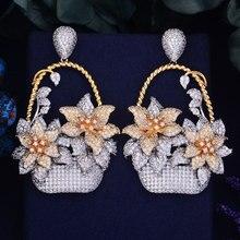 Godki 65mm 럭셔리 인기 꽃 바구니 전체 mirco 포장 큐빅 지르코니아 naija 웨딩 귀걸이 패션 쥬얼리