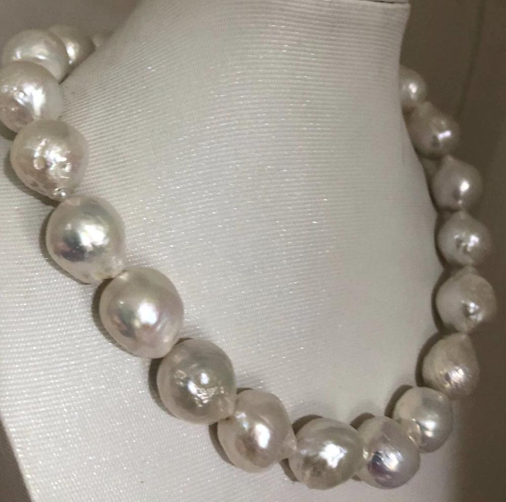 Énorme 14-15mm mer du sud collier de perles blanches 18 pouces 925 s