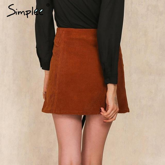 Simplee Apparel Retro corduroy high waist skirt A line button slim mini skirt Preppy single breasted Autumn women skirt 90's new