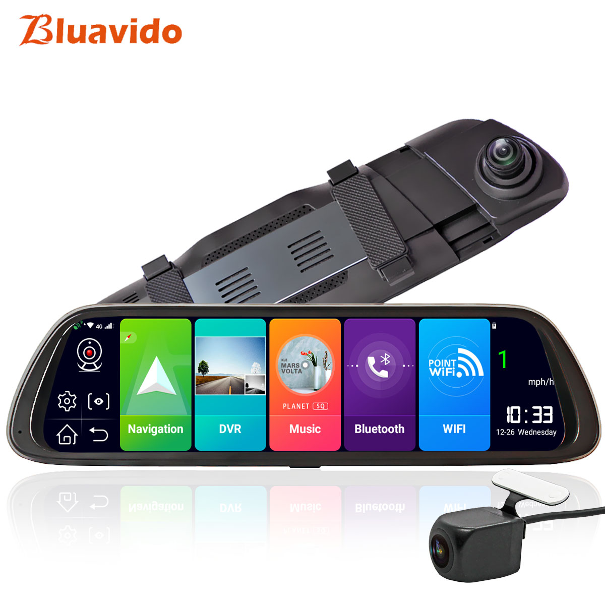 Bluavido Video Registrator Navigation Rear-View-Mirror-Dvr Dash Cam Android Recorder