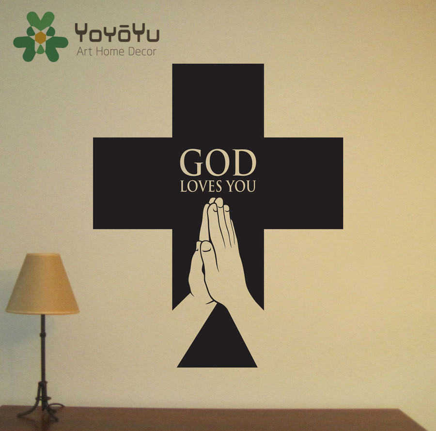 Christian Jesus Cross Art home decor vinyl Wall sticker Wallpaper ...