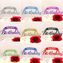Creative Happy Birthday Cake Topper Flags Glittler Multi Colors Party Baking Decoration