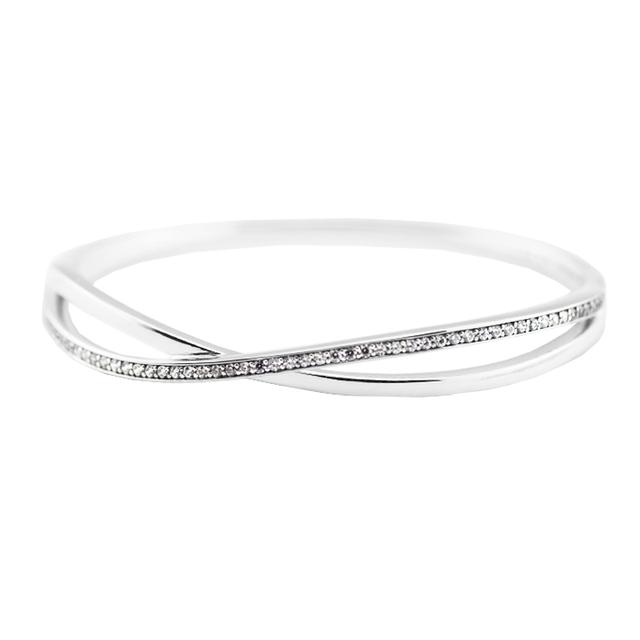 Compatível com Europeia Jóias Pulseiras de Prata Entrelaçados com Clear CZ 100% Jóias de Prata Esterlina 925 DIY 08B031