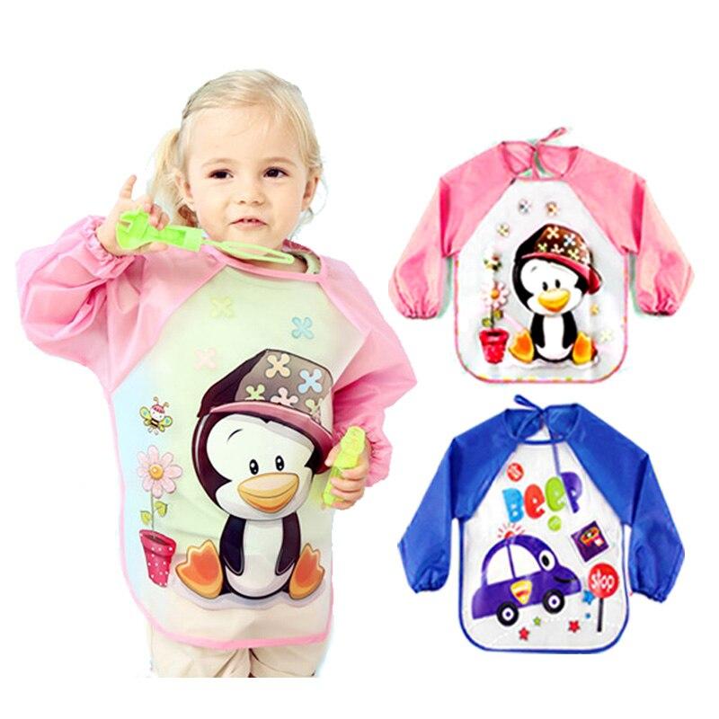 8dcab37332928 Baby Bibs Burp Children Cartoon Drawing Eating Feeding cloths Waterproof  Long Sleeve Infant Newborn Bib Apron