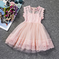 Casual Ruffles Lace Dress Baby Girl Princess Mesh Layer Dress Sleeveless Girls Party Lace Dresses Gown Birthday Vestido 6 Years
