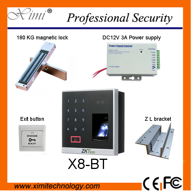 x8-bt fingerprint access control system supports bluetooth with the RFID and MF reader ZK biometric fingerprint access control