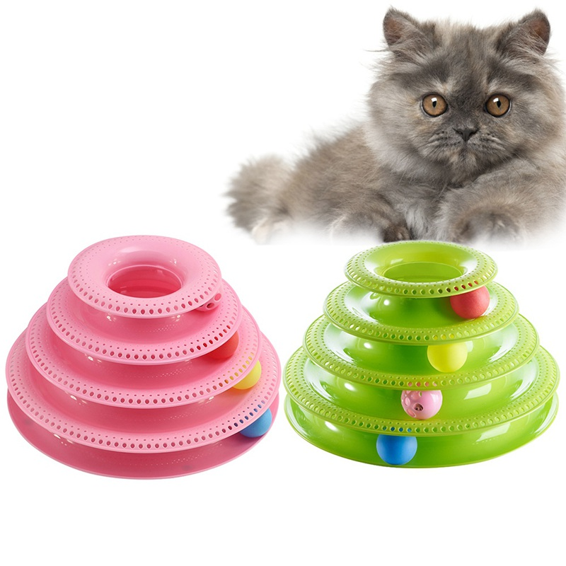 Three Tower Anti Slip Orginal Design Amusement Intelligence Dog Cat Toys Of Tracks Turntable Ball Pet Funny Cat toys