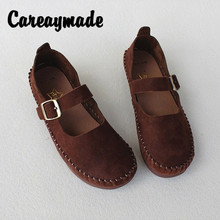 Careaymade-New Spring and Summer Retro Soft Bottom Mori girl Shoes Head Layer Cowhide Pure Leather Mary Jean Flat-soled Shoes