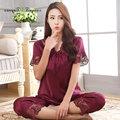 Novas mulheres chegada do verão de manga curta sleepwear conjunto de pijama de seda dois peças sexy oco out lace decote em v conjunto de roupa interior 6 cores