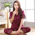 Nueva llegada de las mujeres del verano de manga corta ropa de dormir conjunto de pijama de seda de dos piezas atractivas ahuecan hacia fuera de encaje de cuello v conjunto de ropa interior de 6 colores