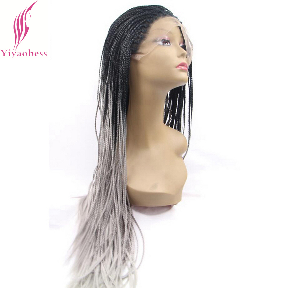 Yiyaobess 28inch Afro Micro Braided Lace Front Wigs Women Synthetic Hair Two Tone Glueless Black Grey Ombre Wig