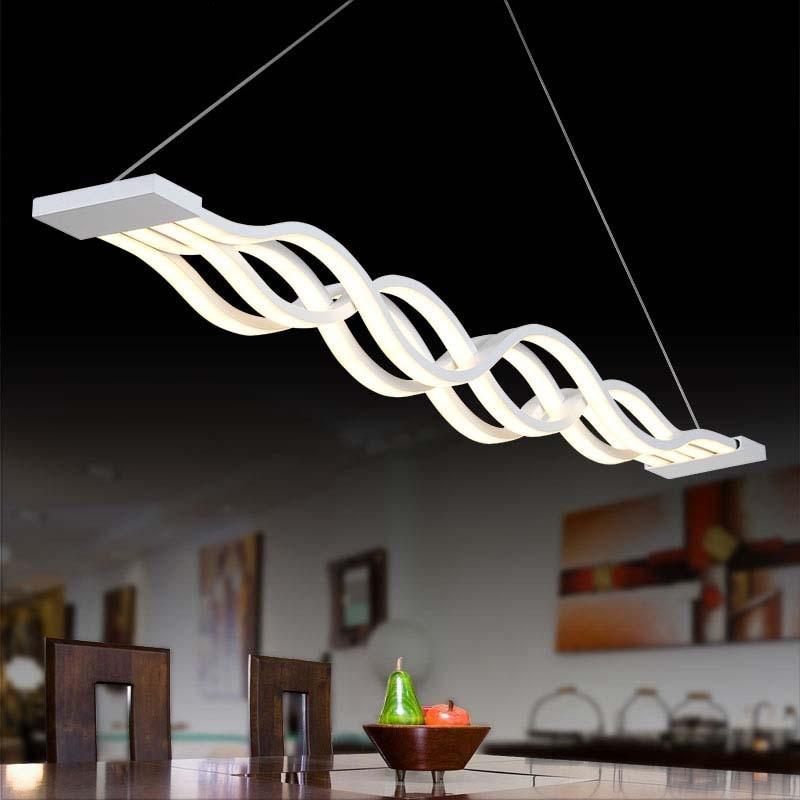 Modern Copper Ring Led Pendant Lighting 10758 Shipping: Modern LED Pendant Light Acryl Wave Dimmable Lamparas De