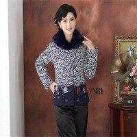 Hot Sale Winter Blue White Chinese Women's Silk Satin Fur Collar Wadded Jacket Fashion Tang Suit Outerwear M L XL XXL 3XL 4XL