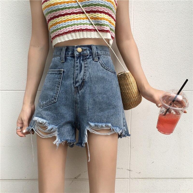 2019 femmes Jeans Shorts taille haute jambe large pantalons courts pour femme trou irrégulière Jeans pantalons chauds