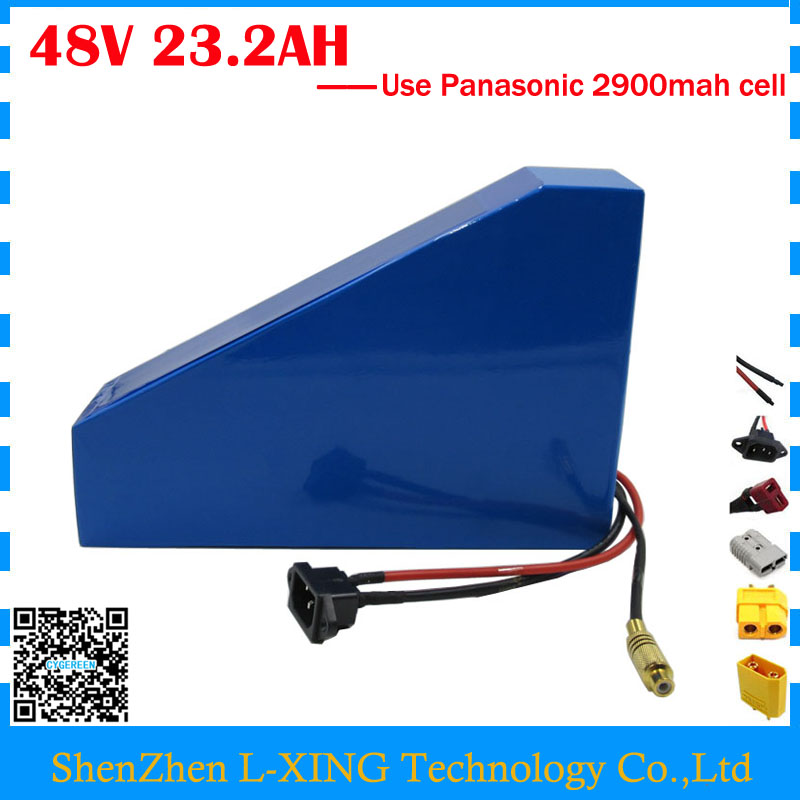 Europe no tax 1200W 48V 23.2AH lithium battery pack 48V 23AH triangle battery with free bag use Panasonic 2900mah cell 30A BMS free customs taxes super power 1000w 48v li ion battery pack with 30a bms 48v 15ah lithium battery pack for panasonic cell