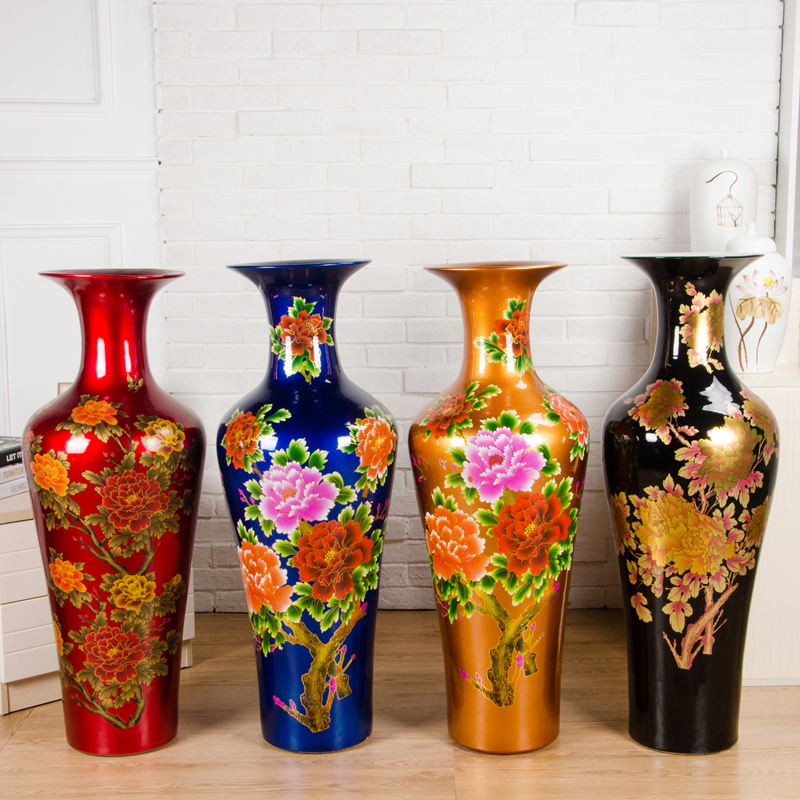 jarrones de cermica piso grande de lujo de color de cristal glaseado jingdezhen jarrn decorativo piso