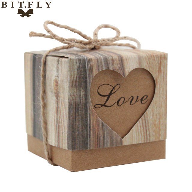 2017 New 50pcs/lot Romantic Heart Candy Box for Wedding Decoration Vintage Kraft Wedding Favors and Gifts Box with Burlap Twine