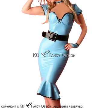 Lake blue With Black Sexy Fishtail Latex Dress With Puff Sleeves With Zipper At Back Rubber Dress Bodycon Playsuit LYQ-0136